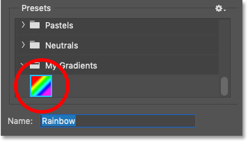 The new rainbow gradient preset created in Photoshop