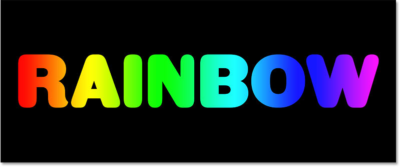 A rainbow gradient text effectcreated in Photoshop
