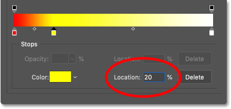 Setting the location of the yellow color in the gradient to 20 percent