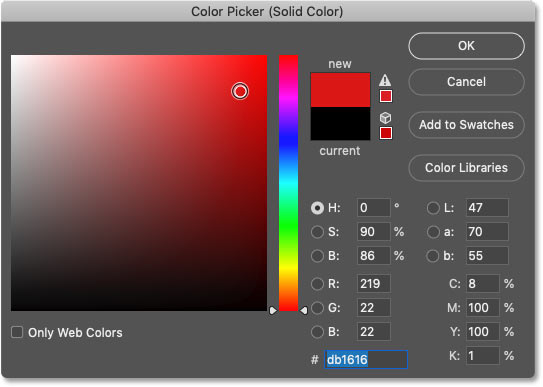 Choosing a new shape color from Photoshop's Color Picker