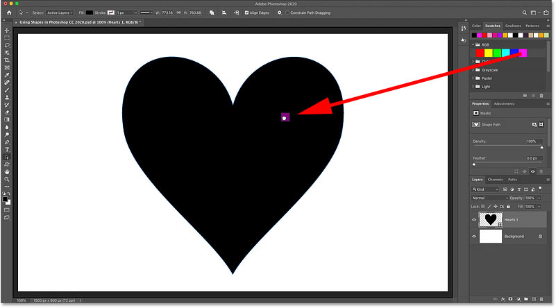 Dragging a color from the Swatches panel onto the shape in Photoshop CC 2020