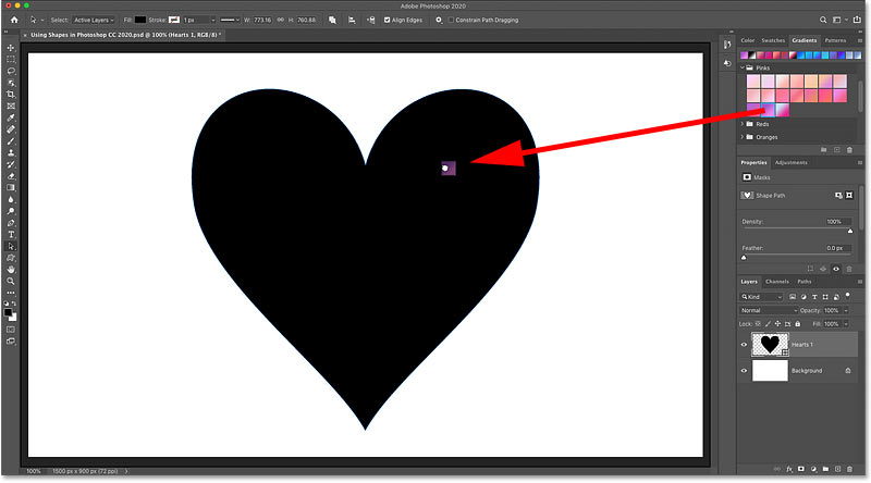 Dragging and dropping a gradient from the Gradients panel onto the shape in Photoshop