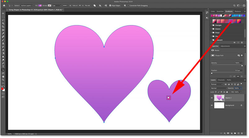 Dragging a gradient from the Gradients panel onto one of the shapes in Photoshop
