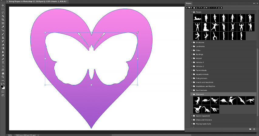 How to draw custom shapes with the Shapes panel in Photoshop CC 2020
