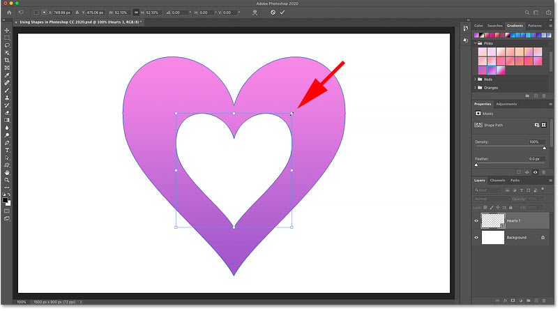 Resizing and repositioning the second shape with Free Transform in Photoshop
