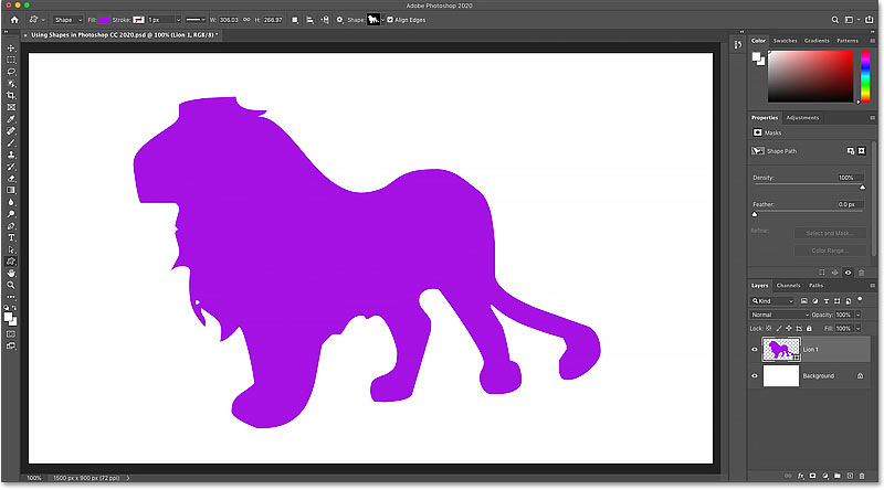 The shape is filled with the new color in Photoshop