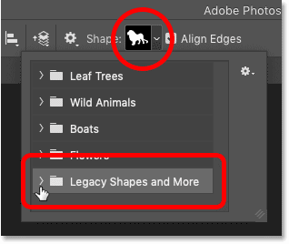 The new shapes are now available for use with Photoshop's Custom Shape Tool