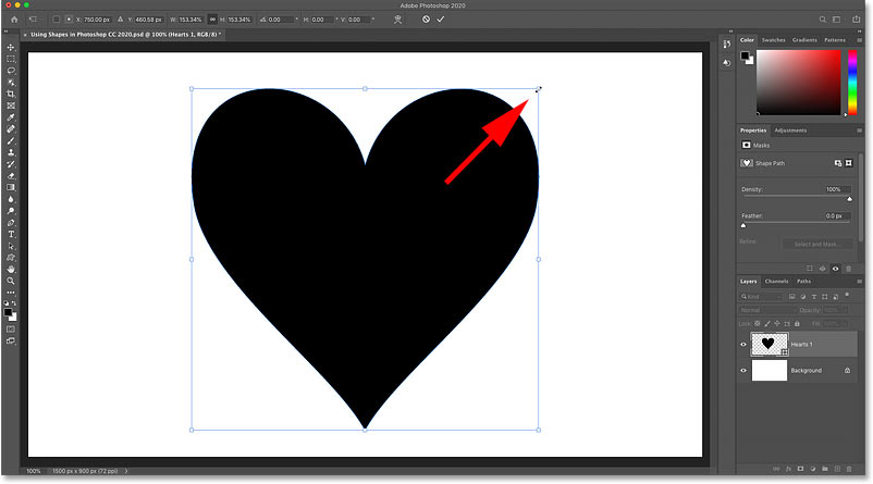 Resizing the shape with the Free Tranform handles in Photoshop