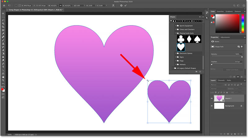 Moving and resizing the second shape in the Photoshop document
