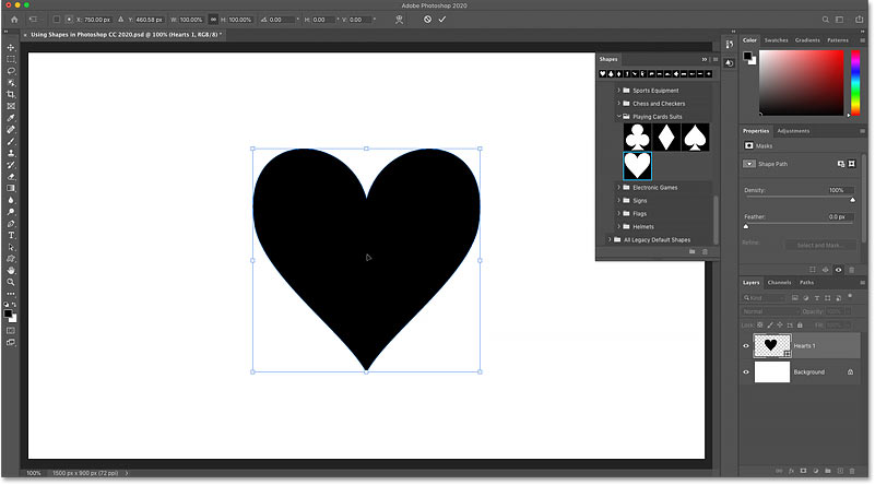 A shape added from the Shapes panel in Photoshop CC 2020