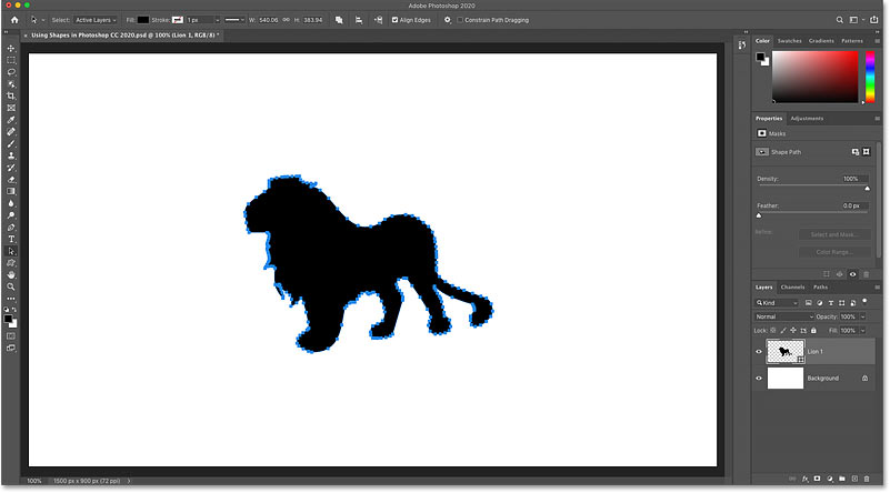 A shape drawn with the Custom Shape Tool in Photoshop CC 2020
