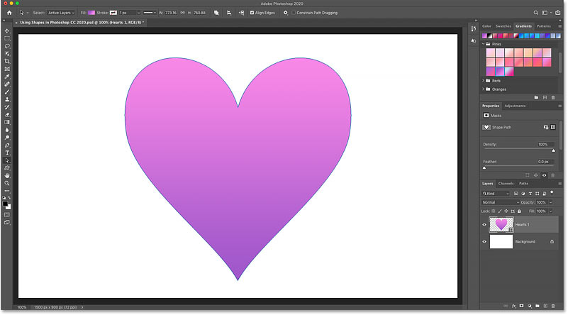 The result after dragging a gradient onto the shape in Photoshop
