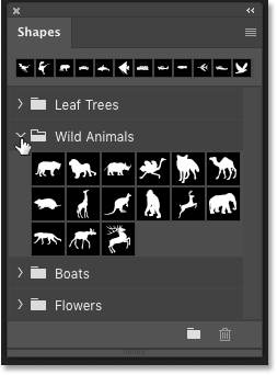 The default shapes in the Shapes panel in Photoshop CC 2020