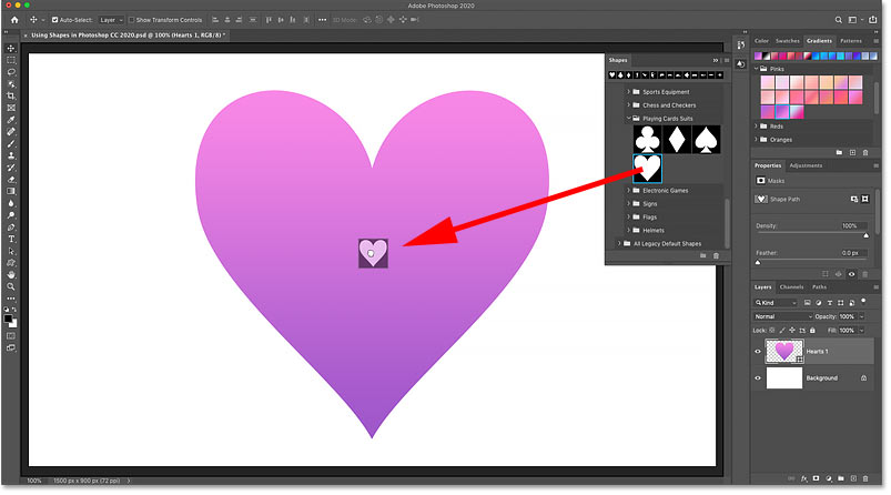 Dragging a shape from the Shapes panel to subtract it from an existing shape in Photoshop