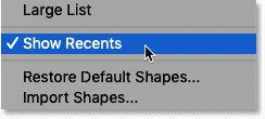 The Show Recents option in Photoshop's Shapes panel