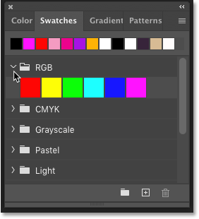 Choosing a color from the Swatches panel in Photoshop CC 2020