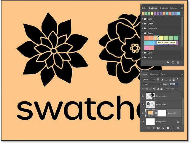 Choosing different colors for the background from Photoshop's Swatches panel