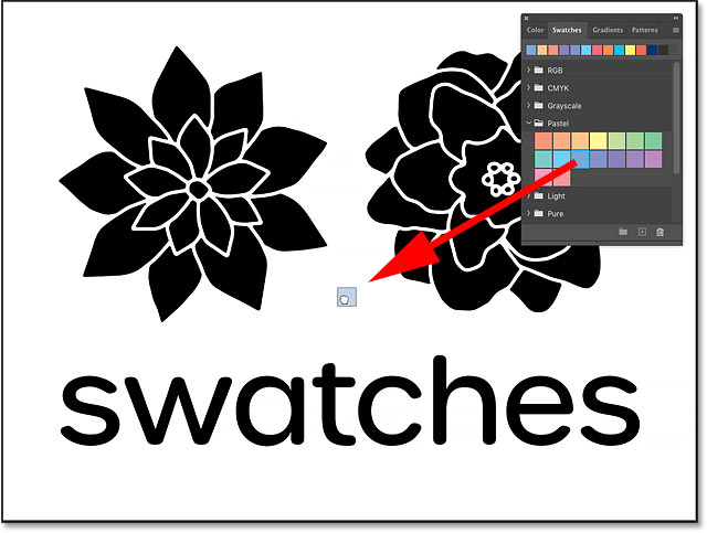 Dragging and dropping a color swatch from the Swatches panel onto the Background layer in Photoshop CC 2020