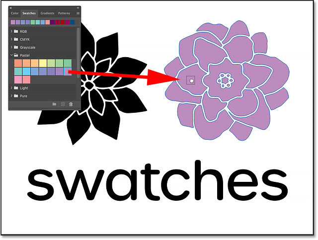 Dragging and dropping a color from the Swatches panel onto a shape layer in Photoshop CC 2020