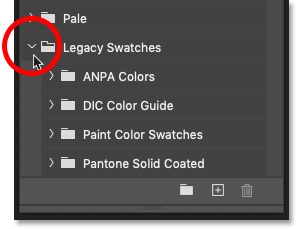 The Legacy Swatches sets in Photoshop CC 2020