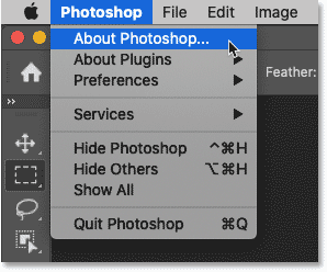 Selecting About Photoshop to view Photoshop's version number