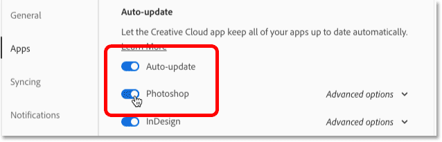 Turning on the Auto-update and Photoshop options in the Creative Cloud app Preferences