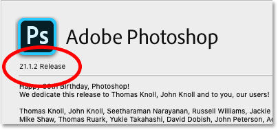 Checking the version number after updating Photoshop