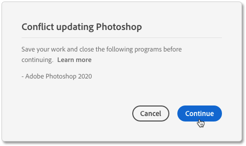The Conflict Updating Photoshop message