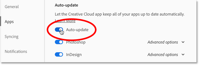 Turning on the Auto-update option in the Creative Cloud app Preferences