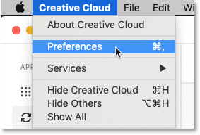 How to open the Creative Cloud app Preferences