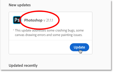 Checking the version number of the Photoshop update