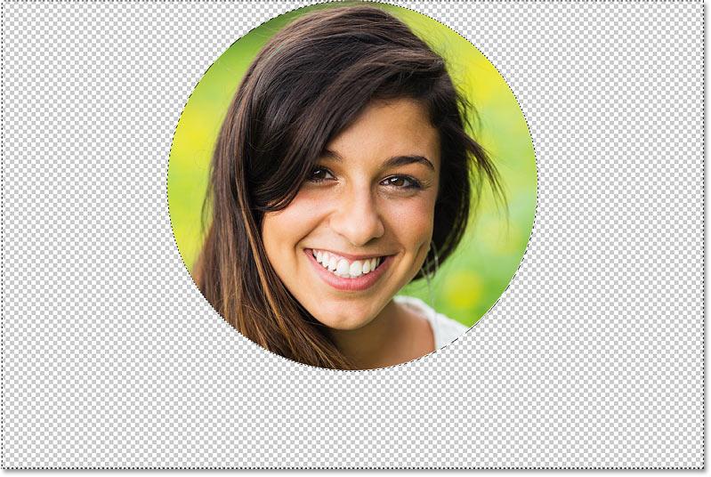 Press Backspace (Win) / Delete (Mac) to delete the image around the circle.