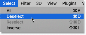 Choosing the Deselect command from the Select menu in Photoshop.