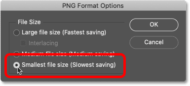 The PNG Format Options dialog box.