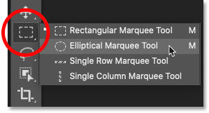 Selecting the Elliptical Marquee Tool in Photoshop's toolbar