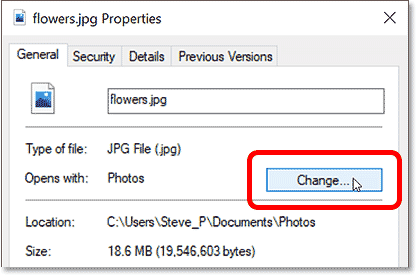 Clicking the Change button in the image properties in Windows.