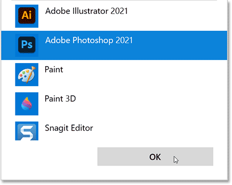 Selecting Photoshop and clicking OK.