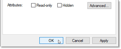 Clicking OK to close the Properties dialog box in Windows 10