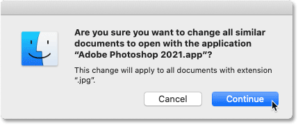 Confirming that all JPEG files should open in Photoshop on macOS
