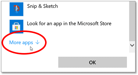 Click More Apps if Photoshop is not in the original list.