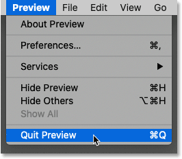 Closing the Preview app in macOS