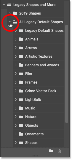 The shapes inside the All Legacy Default Shapes folder in Photoshop's Shapes panel