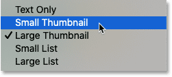 The thumbnail size options in Photoshop's Patterns panel