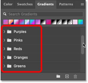 The new default gradient groups in Photoshop's Gradients panel