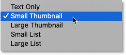 The thumbnail size options in Photoshop's Gradients panel