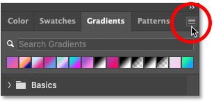 Clicking the Gradients panel menu icon