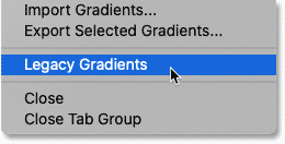 How to load the legacy gradients in Photoshop