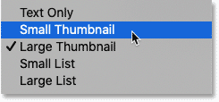 The thumbnail size options in Photoshop's Shapes panel