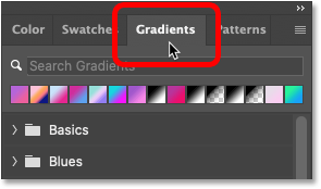 Opening the Gradients panel in Photoshop