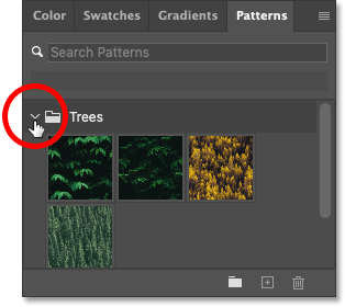 Opening one of the pattern groups in Photoshop's Patterns panel